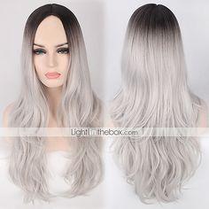 preto / cinza ombre onda da cor beleza peruca natural para as mulheres europeias e americanas uso diário de calor forma resistente novo de 5395650 2017 por R$65,40