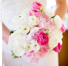 """With my wedding in June, I knew I wanted peonies,"" says the bride. Bright pink and white ranunculus and white lisianthus and freesia filled out the bouquet."
