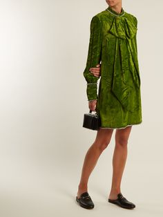 Click here to buy Gucci Bow-detail crushed-velvet dress at MATCHESFASHION.COM