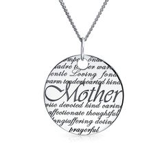 Purchase Round Disc Inspirational Word Quote Mother Pendant Necklace For Women For Mother For Mom 925 Sterling Silver from Bling Jewelry Inc on OpenSky. Share and compare all Jewelry. Message For Mother, Descriptive Words, Bling Jewelry, Jewelry Rings, Silver Jewelry, Mother Quotes, Mother Gifts, Mothers, Inspirational Gifts