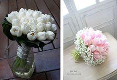Tulle e confetti - bouquet tulipani gipsofila - Alchimie floreali
