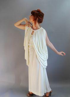Sale  1970s Cream Greek Goddess Gown Dress Jacket by gogovintage, $58.00