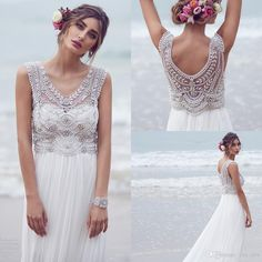 2016 New Anna Campbell Empire Wedding Dresses V Neck Crystal Beading Sheer Maternity Boho Beach Chiffon Long Plus Size Formal Bridal Gowns Online with $147.42/Piece on Yes_mrs's Store | DHgate.com