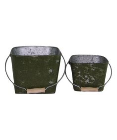 Distressed Moss Green Square Planter Set