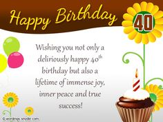 40th Birthday Wishes, Messages and Card Wordings | Wordings and Messages