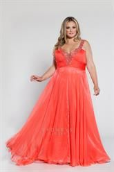 Plus Size Long chiffon V-neck gown with sequined straps image
