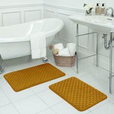 Bath Studio Massage 2 Piece Premium Micro Plush Memory Foam Bath Mat Set Color: Orange