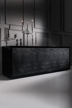 Made in Italy to a world class standard. Discover the Black Alligator Embossed Leather Buffet Sideboard at Juliettes Interiors, a truly stunning statement for any room in the house.
