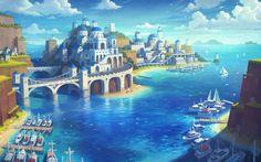 Maplestory 2 Illustration by Jay Kim : ImaginaryArchitecture Fantasy Artwork, Fantasy Art Landscapes, Fantasy Concept Art, Fantasy Landscape, Landscape Art, Fantasy City, Fantasy Castle, Fantasy Places, Fantasy World