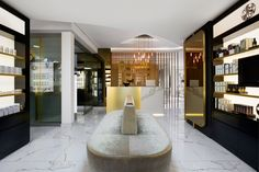 A new boutique spa and beauty salon has opened in the De Waterkant district of Cape Town, South Africa, 'bringing a contemporary edge to the city.' Lume Beauty Atelier was . Spa Interior Design, Beauty Salon Interior, Salon Design, Interior Decorating, Luxury Interior, Nail Salon Decor, Lounge, Wallpaper Magazine, A Boutique