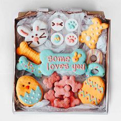 Some Bunny Loves You Easter Cookie Box Cookies Box, Easter Cookies, Easter Treats, Horse Treats, Puppy Treats, Dog Cookie Recipes, Dog Bakery, Some Bunny Loves You, Dog Biscuits