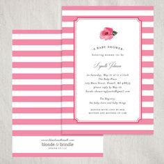This beautiful pink striped baby shower invitation can be any color you want to welcome a precious baby boy or baby girl. Customize everything on this invitation to fit your baby shower perfectly! Blonde