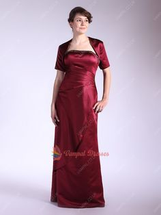 148.00$  Watch now - http://virox.justgood.pw/vig/item.php?t=8vyem6m51455 - Burgundy Strapless Beaded Neckline Mother Of The Bride Dresses With Jacket 148.00$