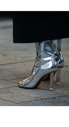 Metal look silver Vetements boots.