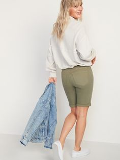 High-Waisted Pop-Color Bermuda Jean Shorts for Women -- 9-inch inseam | Old Navy Bermuda Shorts Women, Shop Old Navy, Double Breasted Coat, Old Navy Women, High Waist Jeans, Jean Shorts, Color Pop, Cotton, Confidence