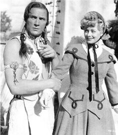 "Tom Tyler as Geronimo in ""Valley of the Sun"" with Lucille Ball"