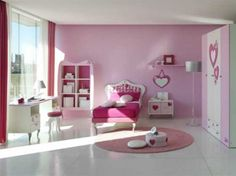 Cool Colors For Bedroom Makes Perfect: Heavenly Lovely Pink And White Girls Bedroom Interior Design Completed With Cute Wardrobe Also Fascinating Love Shaped Mirror Ideas And Small Round Rug On Shiny Flooring Spacious ~ workdon.com Bedroom Design Inspiration
