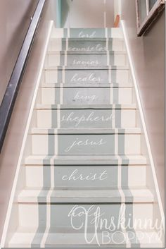 note side moulding making it easier to paint runner Stair Steps, Stair Risers, Paint Runner, Staircase Runner, Basement Furniture, Weekend Crafts, Double Front Doors, Painted Stairs, Forest House