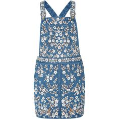 Needle & Thread Denim Embroidery Overall Dress (23,055 PHP) via Polyvore featuring dresses, embroidered denim dress, blue denim dress, blue embroidered dress, cross back dress and criss cross back dress