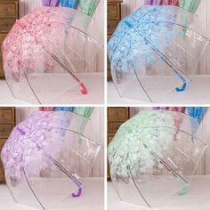 Lady Sakura Parasol Transparent Clear Rain Umbrella Hook Handle Mini Bumbershoot