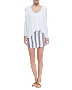 64f31e87f0ea Theory Chonos skirt in striped Matai twill.Approx. 15L front and back from  top
