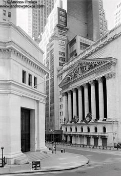View of the New York Stock Exchange from Wall Street II - http://andrewprokos.com/photos/black-and-white/