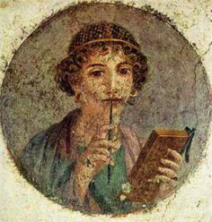 Fresco from Pompeii, c. 60 AD  Cette fresque a été réalisée au Ier siècle ap J.C. Elle a été découverte dans une villa à Pompéi. Comme c'est une femme qui semble cultivée, on pense que c'était Sappho (poétesse grecque).