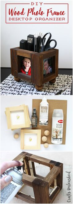 Wood Photo Frame DIY Desk Organizer