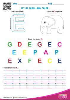 Free for learning letters of by coloring and tracing. Finally connecting the dots to draw the shape of letters in given direction with this printable worksheet. Alphabet Tracing Worksheets, Alphabet Activities, Printable Worksheets, Free Worksheets, Printables, Learning Letters, Fun Learning, Letter E, Connect The Dots