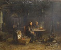 Jozef Israëls: Boerenmaaltijd in Delden (1885) Farmersmeal in Delden. Israels´ painted the very typical interior of Dutch farmhouses in the regions Twente & the Achterhoek... locally this type of farminterior is known as 'Lös Hoes' (open house).
