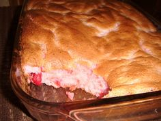 Cherry Angel Cake ~ 1 box angel food cake mix and 1 can light cherry pie filling . . . mix both ingredients together and place in a greased 9x13 pan and bake at 350' for about 20-25 minutes.