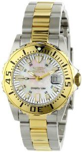 """Invicta Women's 6895 """"Pro-Diver"""" Stainless Steel, 18k Yellow Gold Plating, and Mother-of-Pearl Bracelet Watch"""