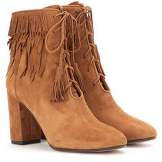Aquazzura Woodstock Fringed Suede Ankle Boots ($815) ❤ liked on Polyvore featuring shoes, boots, ankle booties and brown