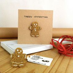 Christmas Card with Gingerbread Person Brooch by LittleConkers