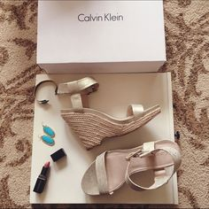 Calvin Klein Gold Wedges Brand new w/ box. No trades. Price firm - just lowered. Calvin Klein Shoes Platforms