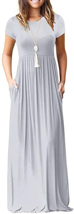 I2CRAZY Women's Summer Casual Maxi Dresses Beach Cover Up Loose Empire Waist Long Dresses with Pocket at Amazon Women's Clothing store