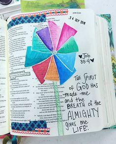 Bible journaling tonight! Job 33:4 #i#illustratedfaith #biblejournaling #ibcillustrated Job Bible, Faith Bible, Bible Drawing, Bible Doodling, Scripture Art, Bible Art, Beautiful Verses, Book Of Job, Doodles