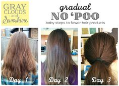 Gray Clouds and Sunshine: Gradual No 'Poo: Baby Steps to Fewer Hair Products. How to go longer between shampoo washing without the yucky transitional period. Even little steps save time and money!
