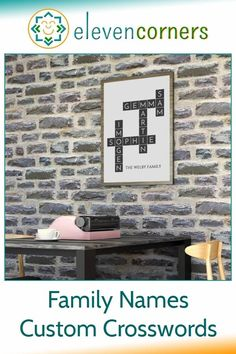 A family names custom crossword is a unique family gift. Why crosswords are particularly suitable for celebrating family. Answers to common questions about family names crossword wall art. #elevencorners #family #crossword #personalisedprints Personalised Prints, Personalized Wall Art, Family Names, Family Gifts, Personalized Retirement Gifts, Geometric Artwork, Family Wall Art, Reading Art, Music Artwork