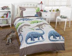 Pościel dla dzieci Dinozaury Szare 140x200. Miękka pościel która zapewni zarówno komfort snu jak i przyjemne odczucia w dotyku.