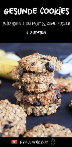 Gesunde Frühstücks Cookies aus 4 Zutaten- blitzschnell gemacht, ohne Zucker & Butter …. schnelle Kekse, mit Banene und Haferflocken #cookies #kekse #haferkekse #gesundekekse #keksefürkinder #kekseohnezucker #ohnezucker #zuckerfrei #schokokekse #schokocookies #haferflocken #frühstückskekse #vegan #cleaneating #bananenkekse #babykekse #fraujanik