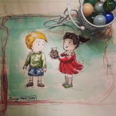 Beraber misket bitiktirip sonsuza dek mutlu  yaşamışlar :) #child #happy #bicycle #reddress #marble #gift #illustration #watercolor #markers #copic #illüstrasyon  #sketch #sketchbook #doodle #cocuklar #mutluluk #kirmizielbise #bilye #misket #hediye