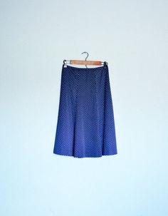 Bon Voyage Skirt - Vintage 1970s Swiss Dot  High Waist Flare Bias Cut Skirt - Navy, Cream Polka Dot - Small/Medium