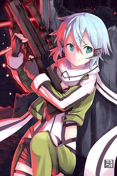 Sword Art Online, Shinon, by ヒロキ Kunst Online, Online Art, Shino Sao, Bunka Pop, Deidara Wallpaper, Sinon Ggo, Fanart Manga, Sao Fanart, Tous Les Anime