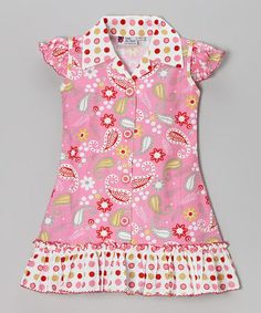 Look what I found on #zulily! Pink Paisley Button-Up Dress - Infant, Toddler & Girls #zulilyfinds