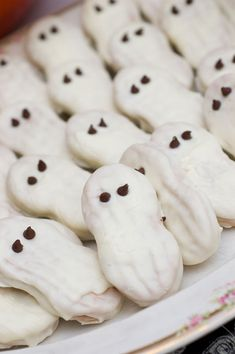 Sugar & Spice by Celeste: ghosts.  Could use viennese biscuits - dip in white choc, 2 choc chips for eyes.