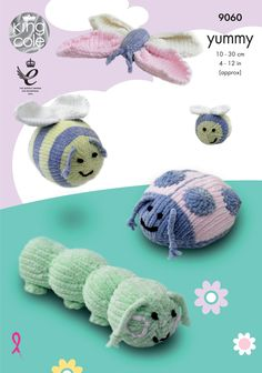 This Yummy knitting pattern leaflet 9060 by King Cole will instruct you on how to create cuddly bugs in four designs: caterpillar, bumble bees, ladybird and butterfly. Chunky Knitting Patterns, Crochet Toys Patterns, Stuffed Toys Patterns, Hand Knitting, Fundraising Crafts, Caterpillar Toys, Knitted Stuffed Animals, Crochet Animals, Amigurumi