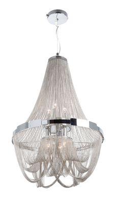 Gen-Lite Eight Light Chrome & Chain Large Pendant, Amaluna Pendant Lamp, Pendant Lighting, Chandelier, Foyer Lighting, Interior Lighting, Renovation Hardware, Light Chain, Rustic Luxe, Chrome Plating