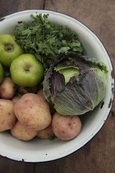Steve Woodward's English Meal: Pork chops, winter greens, mash & baked apples.