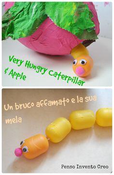 penso+invento+creo: il Bruco fatto con gli ovetti di plastica e la Mela di cartapesta #caterpillar #apple #kids
